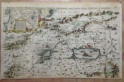 HOLY LAND SYRIA by Olfert DAPPER 1677 LARGE COPPER ENGRAVED MAP IN COLORS