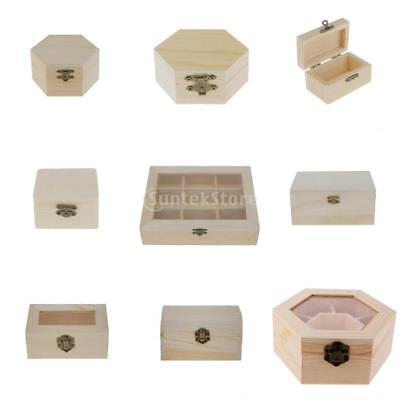 Unfinished Wooden Box Chest Jewellery Storage Decoupage Art Craft Natural Wood