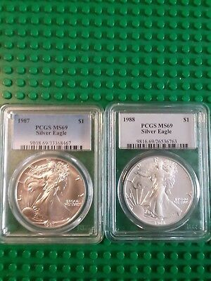 (2) Two Silver American Eagles ~ MS-69 PCGS ~1988 &1989 ~ LOT ~  * Early Dates *