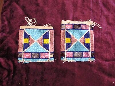 Old Crow Beaded Remnants,heavy patches possibly decorations for horse regalia