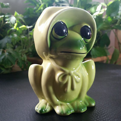 Frog Planter Vase with Bonnet Decorative Ceramic Frog Figurine R.O.C. Taiwan