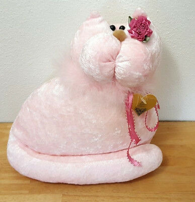 Pink Snickerdoodles Velour Cat Plush Artison Handmade Soft Stuffed With Boa