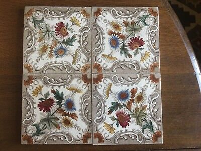 lot of 4 Antique VICTORIAN Aesthetic ENGLISH Transfer Ware TILE Flowers