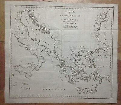 ADRIATIC GULF GREECE TURKEY 1802 by TARDIEU LARGE COPPER ENGRAVED MAP