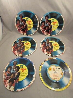 The Jackson Five Cereal Cardboard 33 1/3  Records #1-5 & Motown Record #1