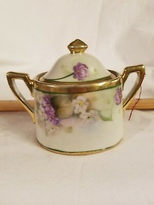 Antique Hand Painted Beautiful Floral Porcelain Grand Sugar Bowl