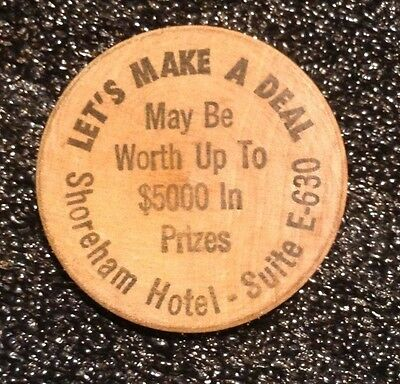 """let's Make A Deal"" 1973 Wooden Nickel Promoting Worldwidevision's Tv Game Show"