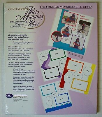 Creative Memories Contemporary Mounting Paper. 34 sheets. 17 colors 10x12. NIP