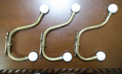 Brass Hooks & Porcelain Knobs Coat Hat Hangers Rack Hardware Lot of 3