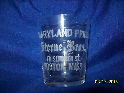 Pre Prohibition Shot Glass,marylands Pride,sterne Bros,summer St. Boston Mass