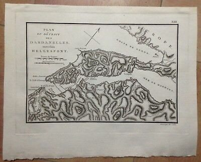 DETROIT OF DARDANELLES 1802 by COTTIN LARGE ANTIQUE COPPER ENGRAVED MAP