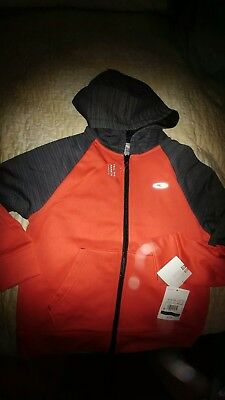 New Champion Boys Duo Dry Zip-Up Hoodie Red/Gray Size S 6/7