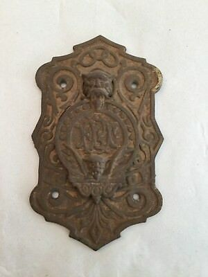Vintage Victorian Gothic Cast Iron Peep Hole Cover With Gargoyles Odd Fellows