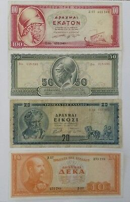 Greece 10, 20, 50,100 dr. 1955 lot of 4 banknotes world paper money