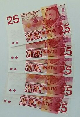 Netherland 25 gulden 1971 lot of 5 banknotes VF/XF