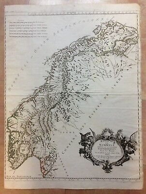 NORWAY 1668 XVIIe CENTURY by SANSON -MARIETTE LARGE ANTIQUE ENGRAVED MAP