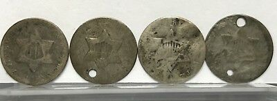 Lot of (4) U.S. Silver Three-Cent Pieces (Trimes) Worn Dates #E76