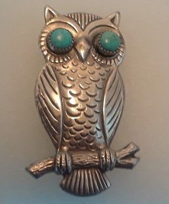 VINTAGE NATIVE Navajo STERLING SILVER OWL TURQUOISE EYES PIN BROOCH Dead Pawn