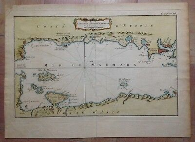SEA OF MARMARA BY BELLIN XVIIIe CENTURY LARGE ANTIQUE COPPER ENGRAVED MAP