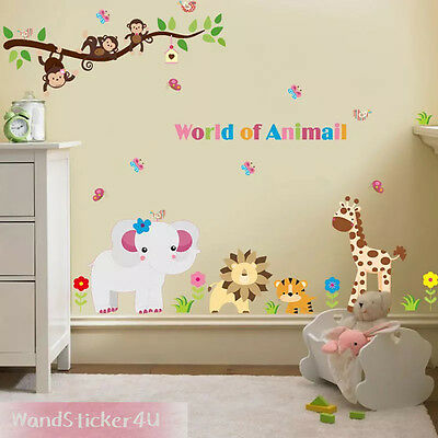 wandtattoo kinderzimmer wald tiere affe elefant giraffe zoo wandsticker safari eur 8 99. Black Bedroom Furniture Sets. Home Design Ideas