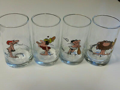 """4 Arby's 1981 B.C. Ice Age Collector Series Water Glasses by Hart 5.25"""" Tall"""