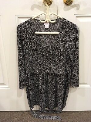 Oh Baby by Motherhood Top Blouse Shirt- Black Polka Dot Tie Waist Large