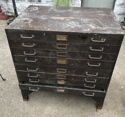 antique industrial Steel And Brass Flat File/ Map Case