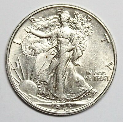 1943 P 50C Walking Liberty Half Dollar About Uncirculated A.UNC.