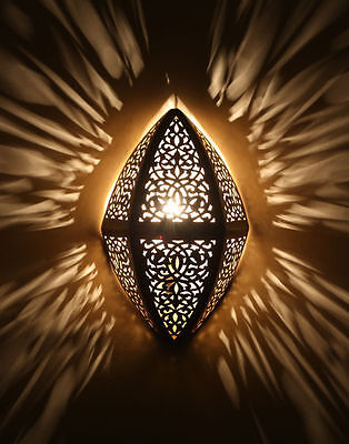 Moroccan Wall Light Brass Antique Lamp Copper Sconce Engraved Style Sconce