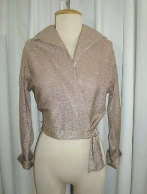 VTG 40s Pale Gold Lame WAIST TIE 1940s HOLLYWOOD WRAP BLOUSE As-Is S