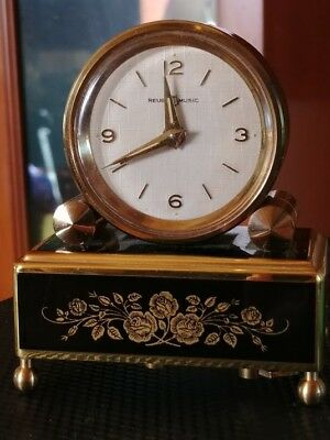 Vintage REUGE Musical Mechanical Alarm Clock Made in Switzerland Works Perfectly