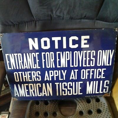 Vintage AMERICAN TISSUE MILLS CHICOPEE MA Porcelain Enamel Sign RARE Original