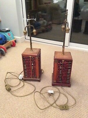 Pair of Vintage antique Abacus Lamps - mid 20th century, fully working