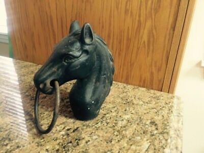Old Vintage Horse Head Hitching Post Cast Iron Fence Post Horse Hitch Black