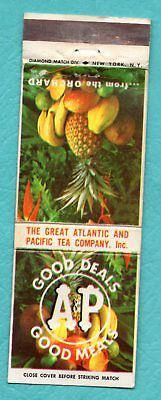 Vintage Matchbook Cover - The Atlantic and Pacific Tea Company Inc. A & P