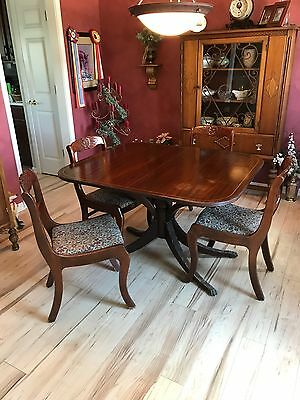 vintage mahogany dining table, claw foot, pedestal, with leaves and custom pad