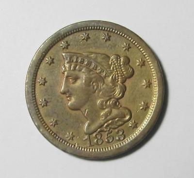 ⭐1853 BRAIDED HAIR HALF CENT⭐ Extra-Fine XF Scarce, Luster !!!