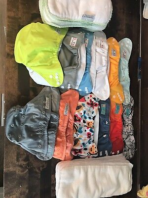 12 Cloth Diapers Baby Goal, Alva Baby, Buttons 15 Inserts