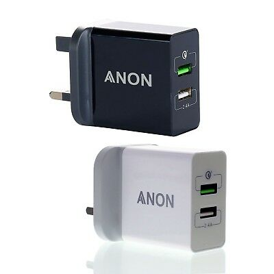 UK Mains Wall 3 Pin Plug Adaptor Charger with 2 USB Ports for Phones Tablets CE