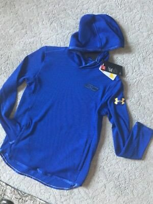 Boy's Under Armour Steph Curry Hooded Pullover Top Coldgear Blue Waffle YMD