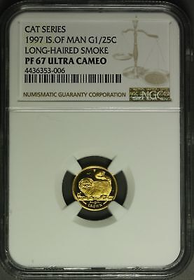 1997  Isle of Man Gold  1/25 oz. - Cat Series , Long -Haired Smoke   NGC PF67UC