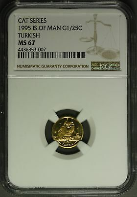 1995  Isle of Man Gold  1/25 oz. - Cat Series , Turkish   NGC MS67