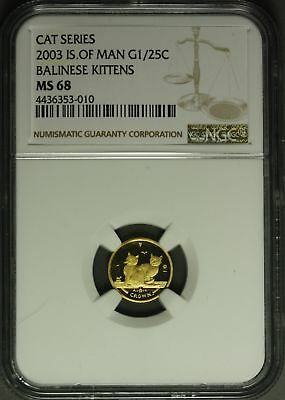 2003  Isle of Man Gold  1/25 oz. - Cat Series , Balinese Kittens  NGC MS68