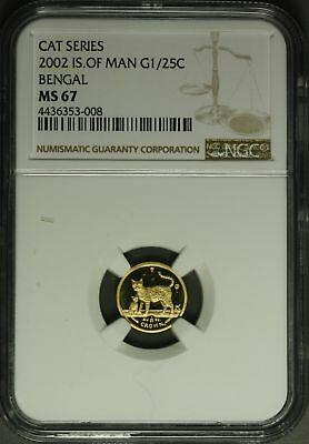 2002  Isle of Man Gold  1/25 oz. - Cat Series , Bengal  NGC MS67