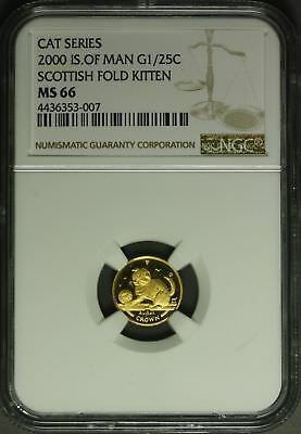 2000  Isle of Man Gold  1/25 oz. - Cat Series , Scottish Fold Kitten  NGC MS66
