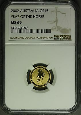 2002  Australia $15 Gold  1/10 oz  - Year of the Horse   NGC MS69
