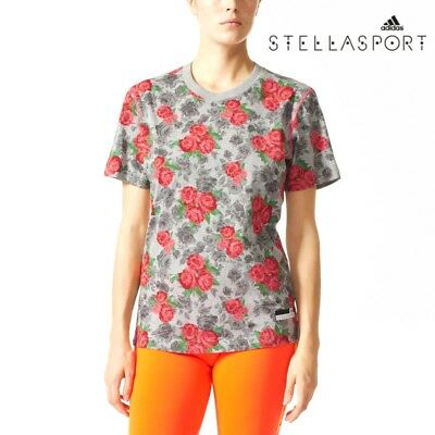 Adidas Womens Stella McCartney Roses T Shirt Work Out Tee Fitness Free Post