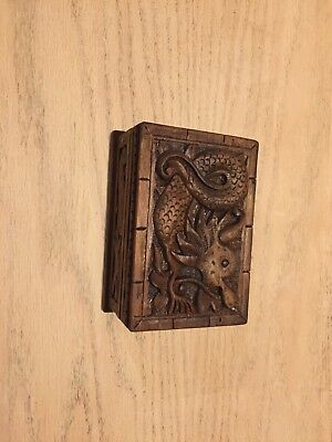 Antique Vintage Asian Hand Carved Wood, Dragon hidden lock box 6x4x 2 3/4 only 1