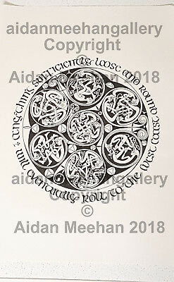 ORIGINAL Pen&Ink Artwork Irish Celtic Knot Figure Spirals West Coast Calligraphy