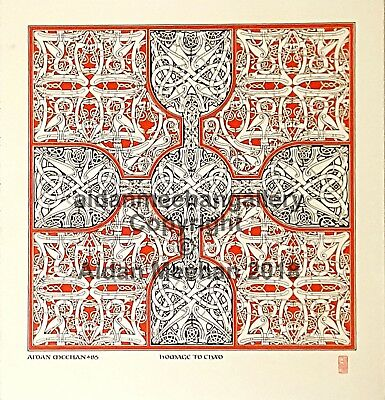 "Aidan Meehan 2-colour Print, Irish Celtic Carpet Page Design,"" Homage to Chad"""